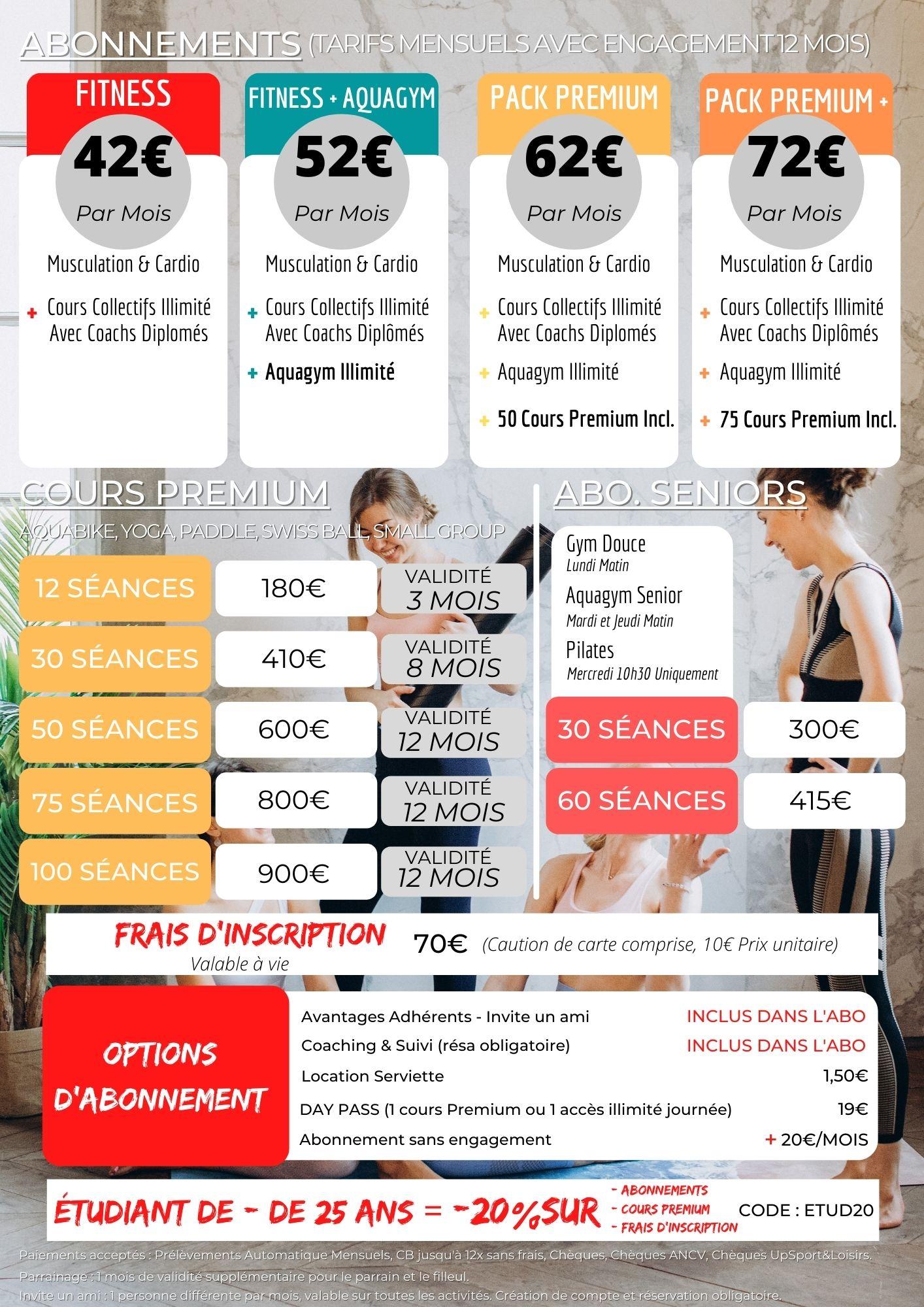 tarifs prix o-zone bordeaux fitness aquagym aquabike yoga premium promotion étudiant